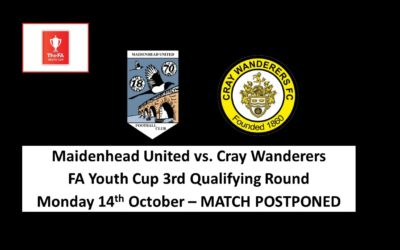 Maidenhead United vs Cray Wanderers – FA Youth Cup 3rd Qualifying Round – Match Postponed