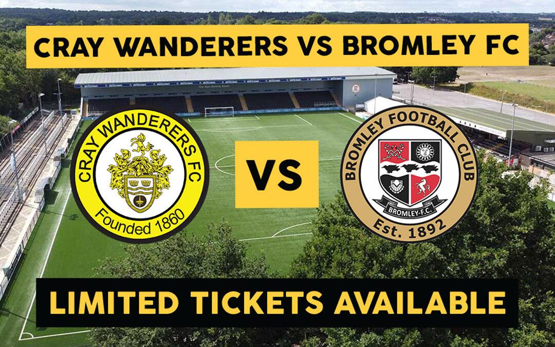 Cray Wanderers VS Bromley XI – Saturday 5th September – KO 2:30pm.