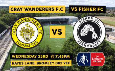Cray Wanderers vs Fisher, FA Cup 1st Qualifying Round – Weds, 23rd September, 7.45pm – Match Preview