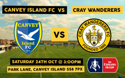 Canvey Island v Cray Wanderers – FA Cup 4QR, Sat 24th October, 3pm – Cray Wanderers ticket sales