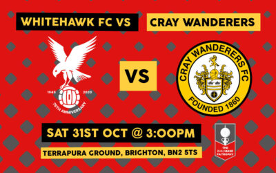 FA Trophy 3rd Qualifying Round Draw – Whitehawk vs Cray Wanderers – Saturday 31st October, 3pm.