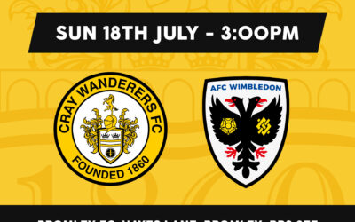 Cray Wanderers vs AFC Wimbledon XI: PSF: Sunday 18th July, 3 pm. Match Preview