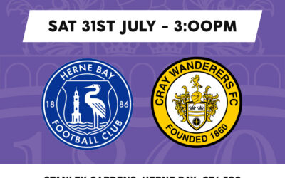 Herne Bay vs Cray Wanderers – PSF: Saturday 31st July, 3pm – Match Preview & Directions.